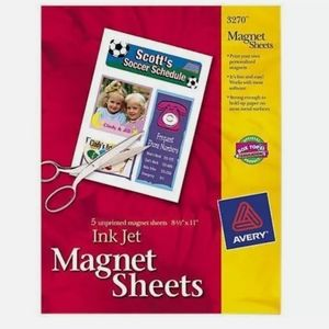 Avery 3270 Ink Jet Magnetic Magnet Sheets 5 Sheets